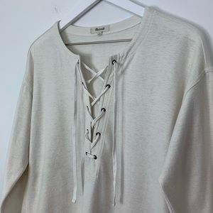 Madewell Libra Lace front tie long sleeve T-shirt